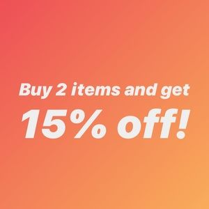 But 2 items get 15% off at checkout!